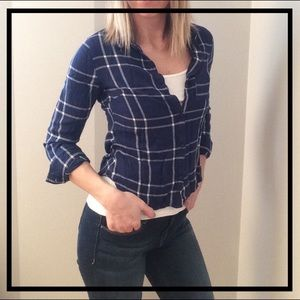 Tops - Stylish Navy + White Plaid Flannel